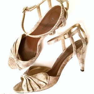 """Leather 3.5"""" Sandals - Snakeskin Style/Bow Detail"""